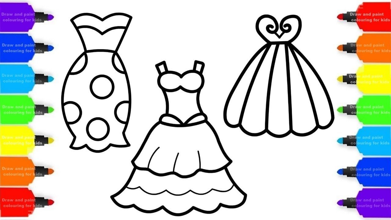 How to Draw Dresses To Girl Colorful for Kids , Coloring
