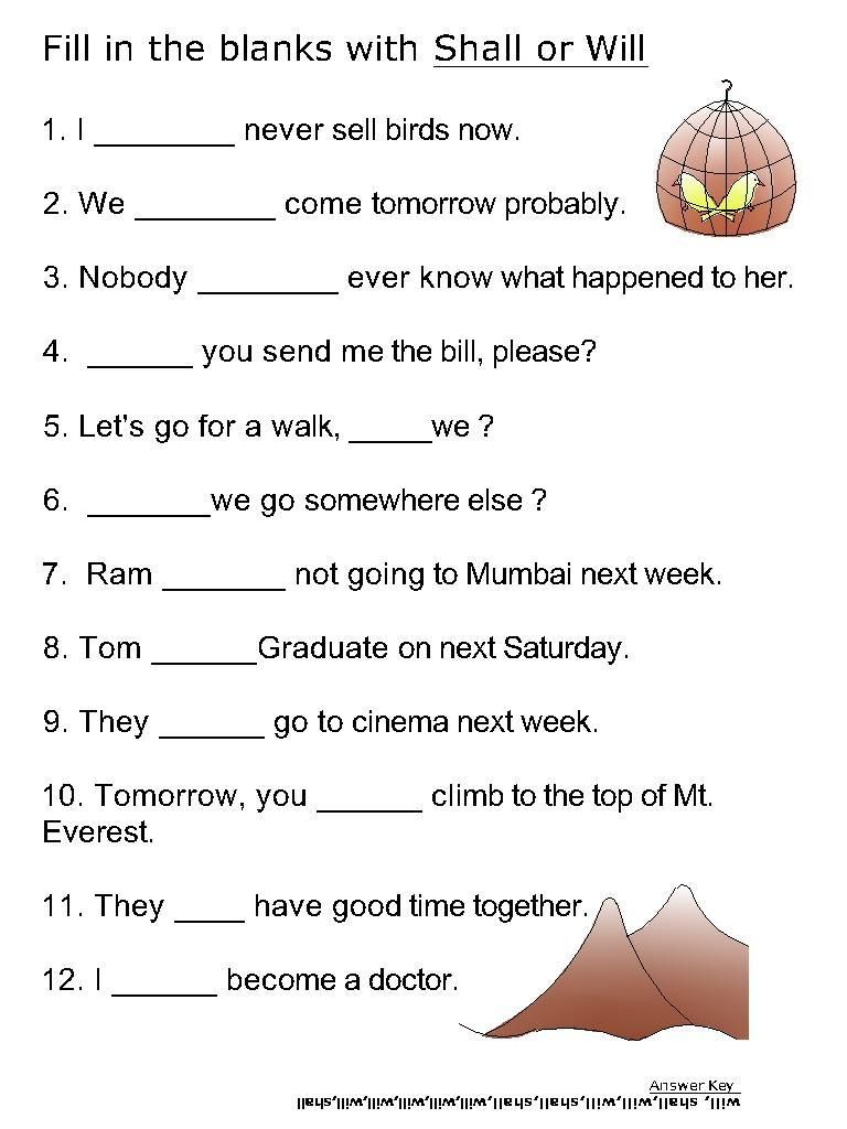 Helping verb worksheets for Will, Shall | e | Pinterest ...