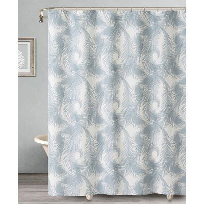 House Of Hampton Wyckoff Royal Feathers Single Shower Curtain Color Gray Curtains Grey Curtains Striped Shower Curtains