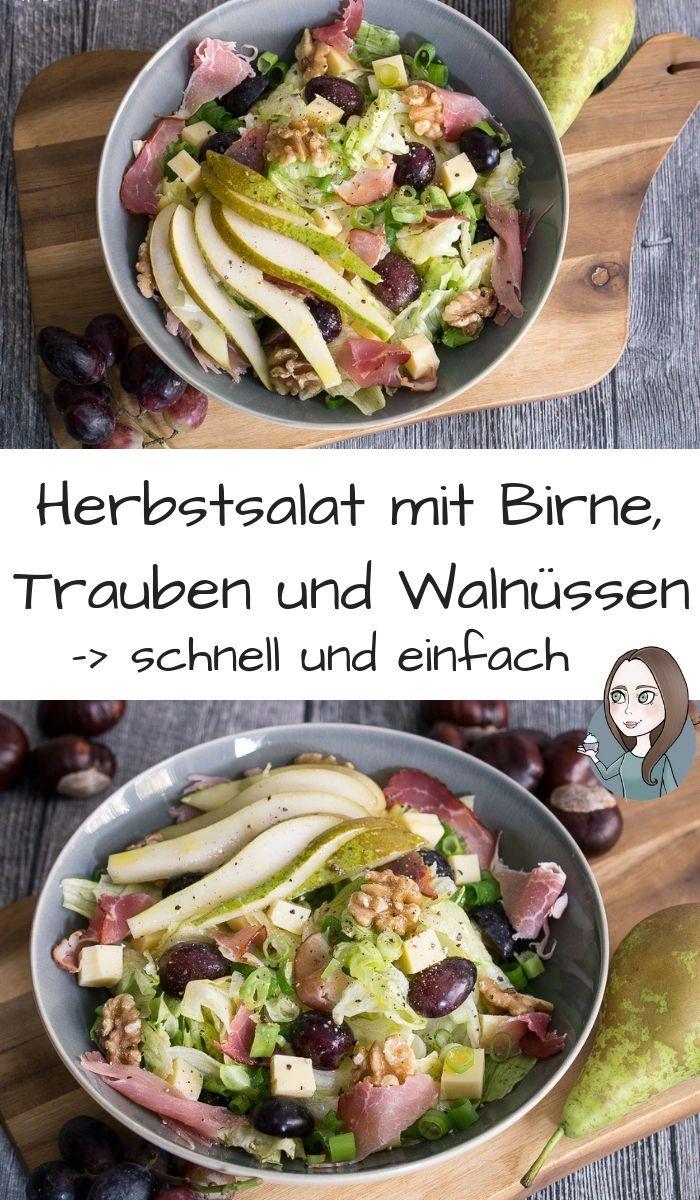 Herbstsalat mit Birne und Trauben Rezept - MakeItSweet.de