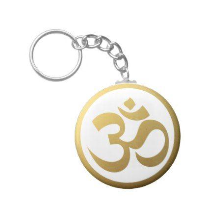 Gold Om Symbol Keychain Yoga Health Design Namaste Mind Body