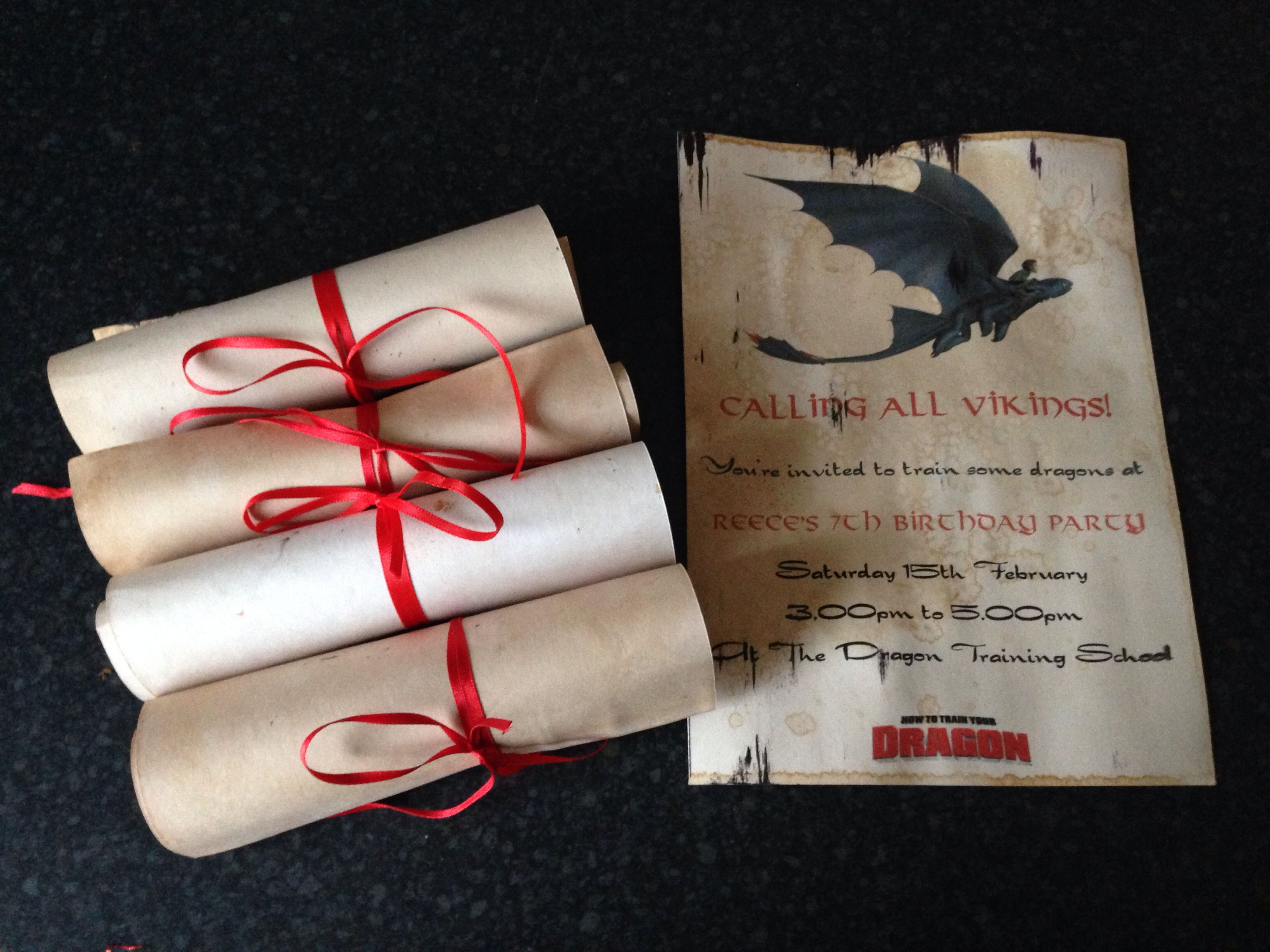 How to Train Your Dragon party invitation. Tea and coffee stained ...