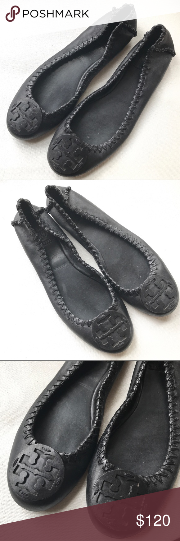 6662ed0d54f6c ... discount code for tory burch reva flats shoes 10 m black preowned black  tory burch flats