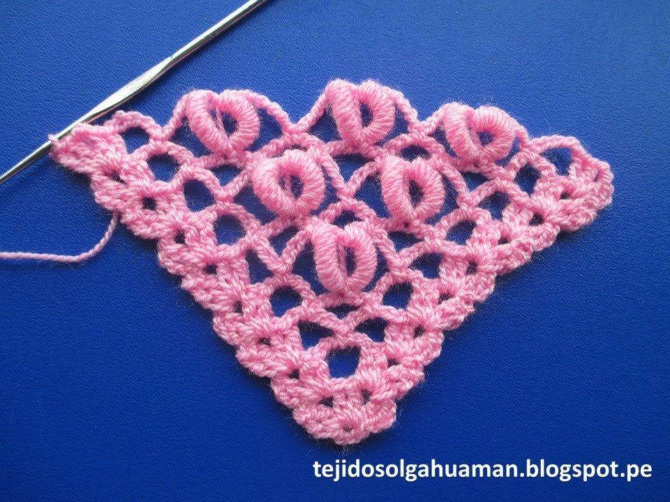 punto para tejer chal a crochet con punto rococo paso a paso ...