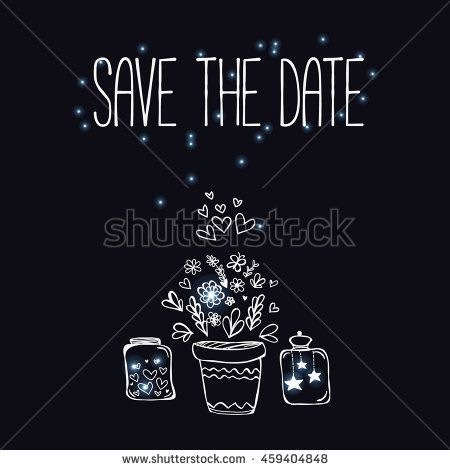 Wedding Invitation Card With Flower Pot Jars And Fireflies With