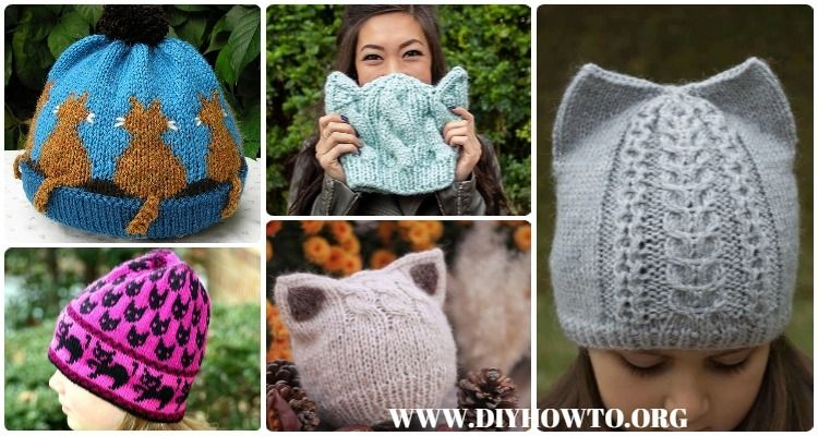 5e35ba3d8 Kitty Cat Hat Knitting Patterns Size Baby to Adult Free | Knitting ...