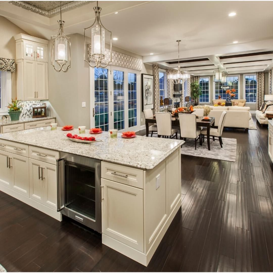 Loving this open concept by tollbrothers interiors for Flooring ideas for kitchen and dining room