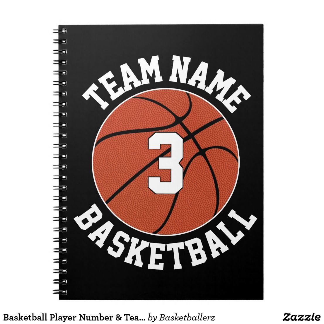 Basketball Player Number Team Name Sports School Notebook Zazzle Com Basketball Players Team Names Player Number
