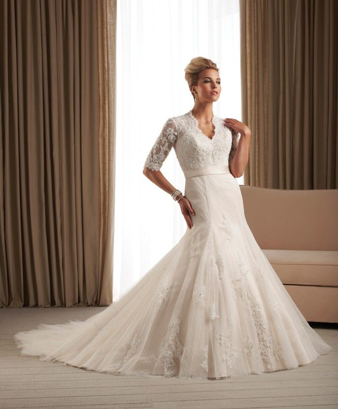 Modest wedding dress with 3/4 sleeves and high neckline back 213 ...