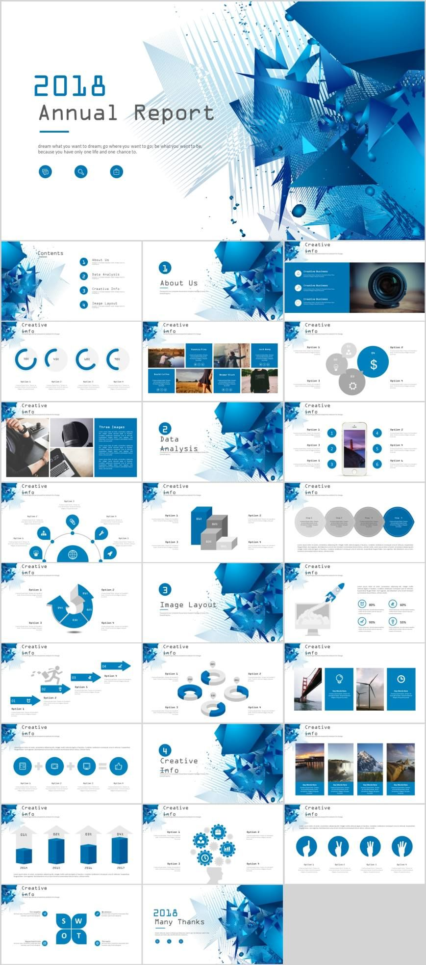 Blue company annual report PowerPoint template