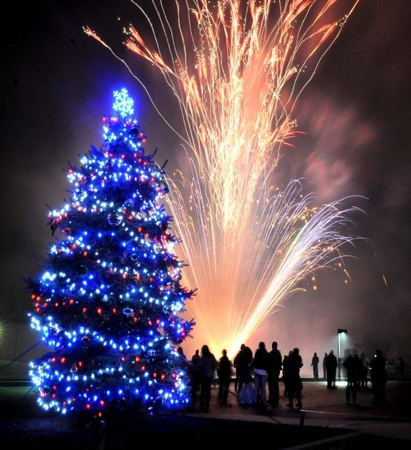 Fireworks light sky at tree-lighting ceremony in Paradise Township
