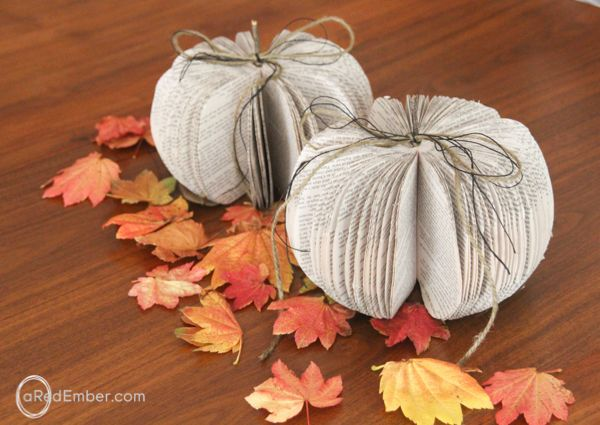 Fall Pumpkin Decorations Made from Recycled Books Pumpkin Spice