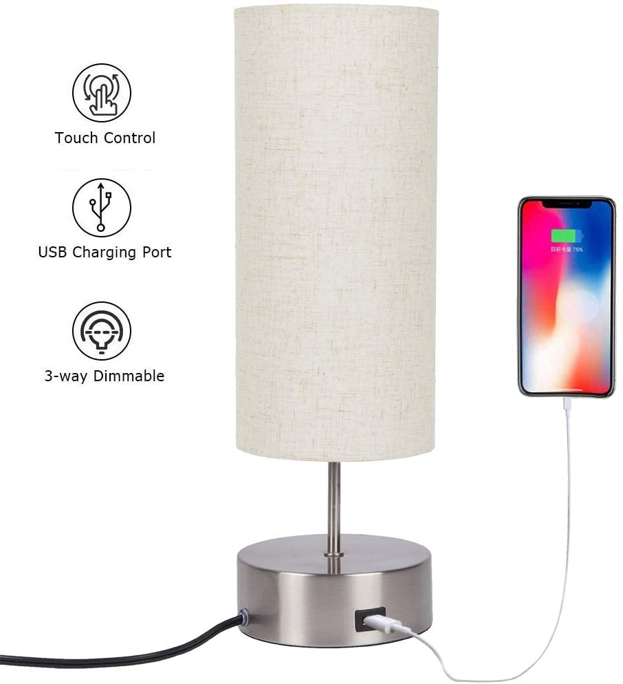Touch Control Table Lamp Bedside With Usb Charging Port 3 Way Dimmable Touch Lamps Modern Nightstand Lamp With Sand Nickel In 2020 Touch Lamp Living Room Office Lamp