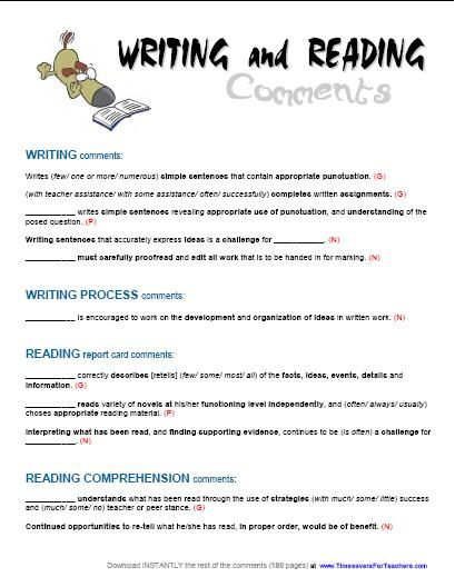 Free Report Card Comments For Reading And Writing See