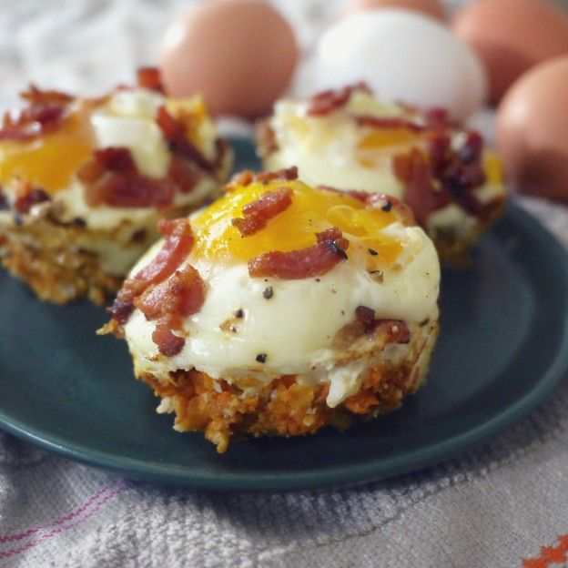 30 Sizzling Bacon Breakfast Recipes: Eggs And Bacon In Sweet Potato Cups