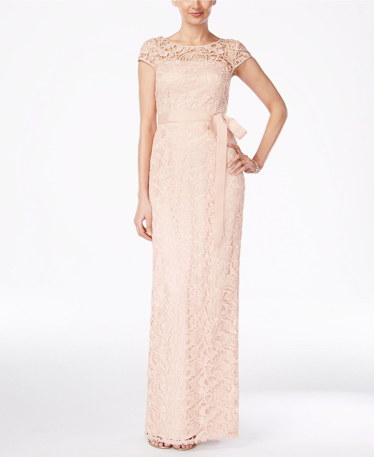 Adrianna Papell Cap-Sleeve Illusion Lace Gown | Adrianna papell ...