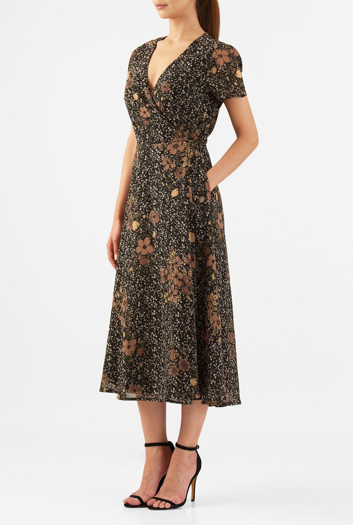 Black Dresses Floral Print Dresses Lightweight Dresses Machine Wash Dresses Mid Calf Length Dresses Midi Dres Beautiful Dress Designs Wrap Dress Dresses [ 2200 x 1480 Pixel ]