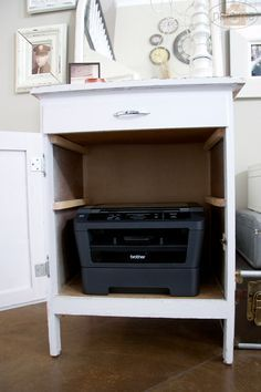 how to hide your printer - Google Search | Home s ... Ideas For Kitchen Desk Printer Storage on cabinets for desk, shelves for desk, bins for desk, trays for desk, drawers for desk, coffee makers for desk, chairs for desk, accessories for desk, pillows for desk, lamps for desk,