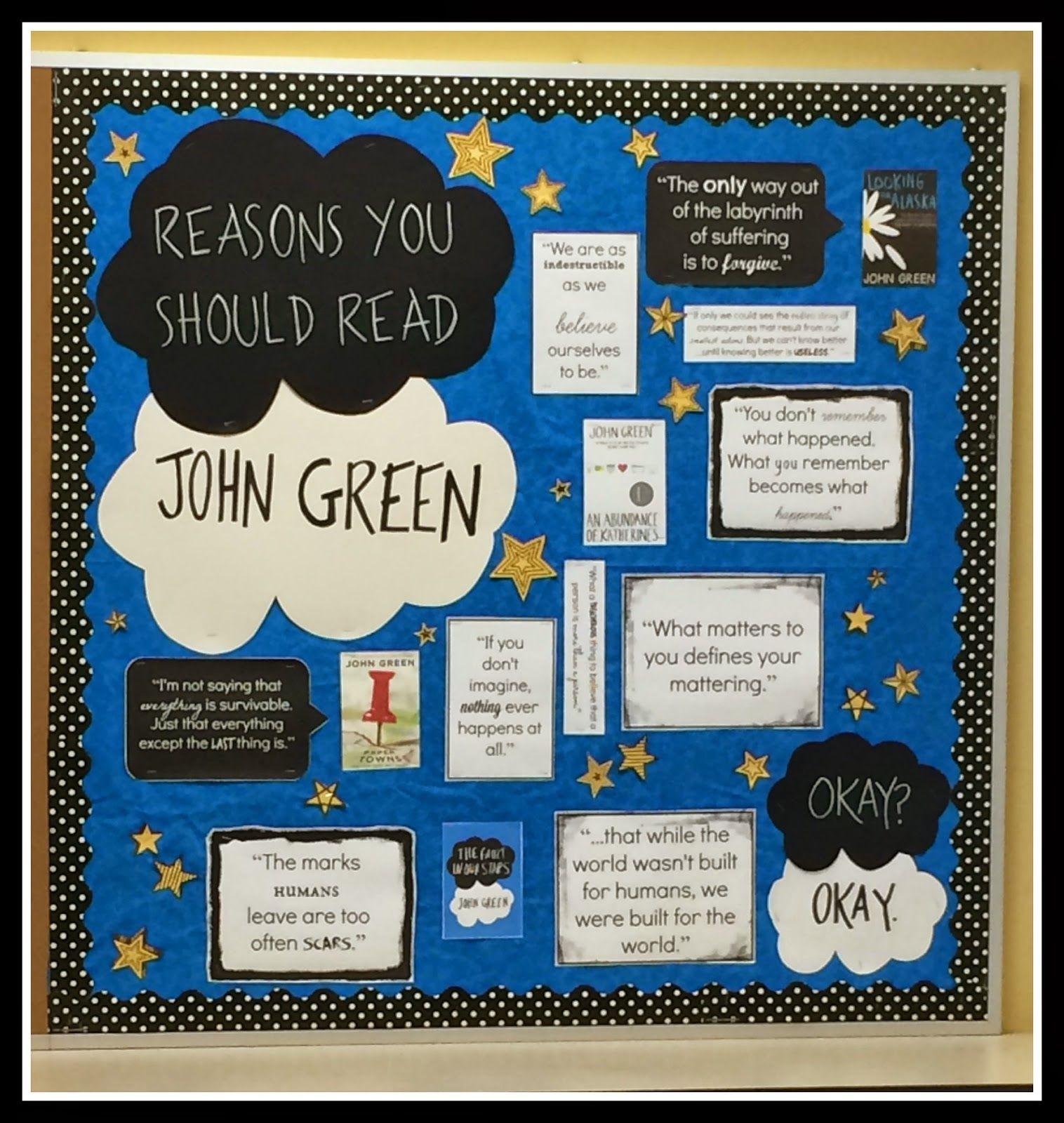 students make bulletin board displays advertising books