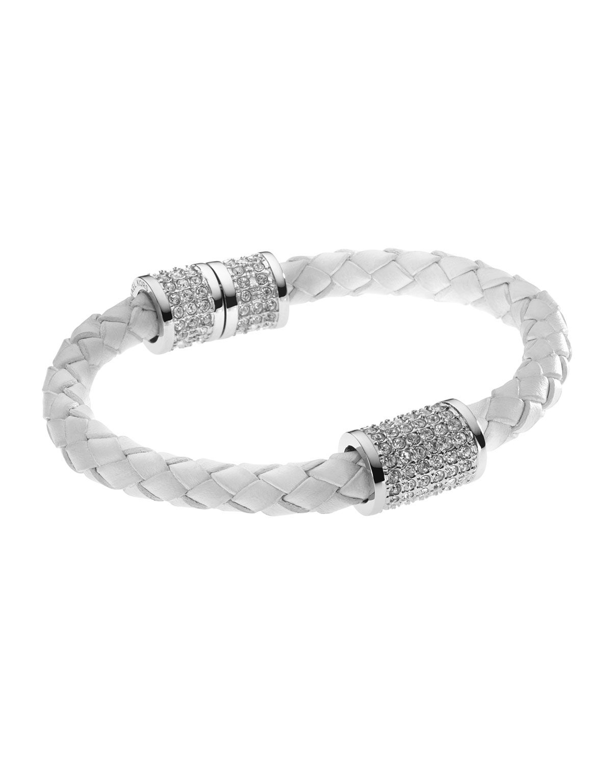 Braided Leather Crystallized Bracelet White Silver Color By Michael Kors At Neiman Marcus