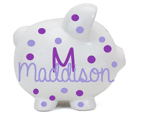 Personalized Piggy Bank - Boy Piggy Banks Personalized - Ceramic Piggy Bank - Polkadot Baby Boy - New Baby Gift - Baby Shower - Birth gift