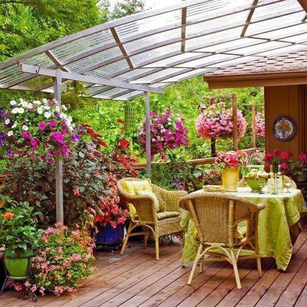 schöne terrasse überdachung blumen Gartendeko Pinterest - mediterrane terrassenberdachung