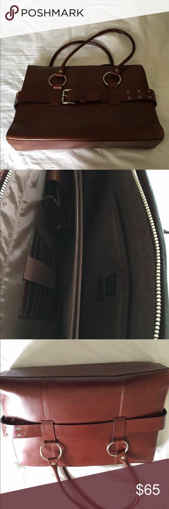 Wilson genuine brown leather bag or briefcase Brown