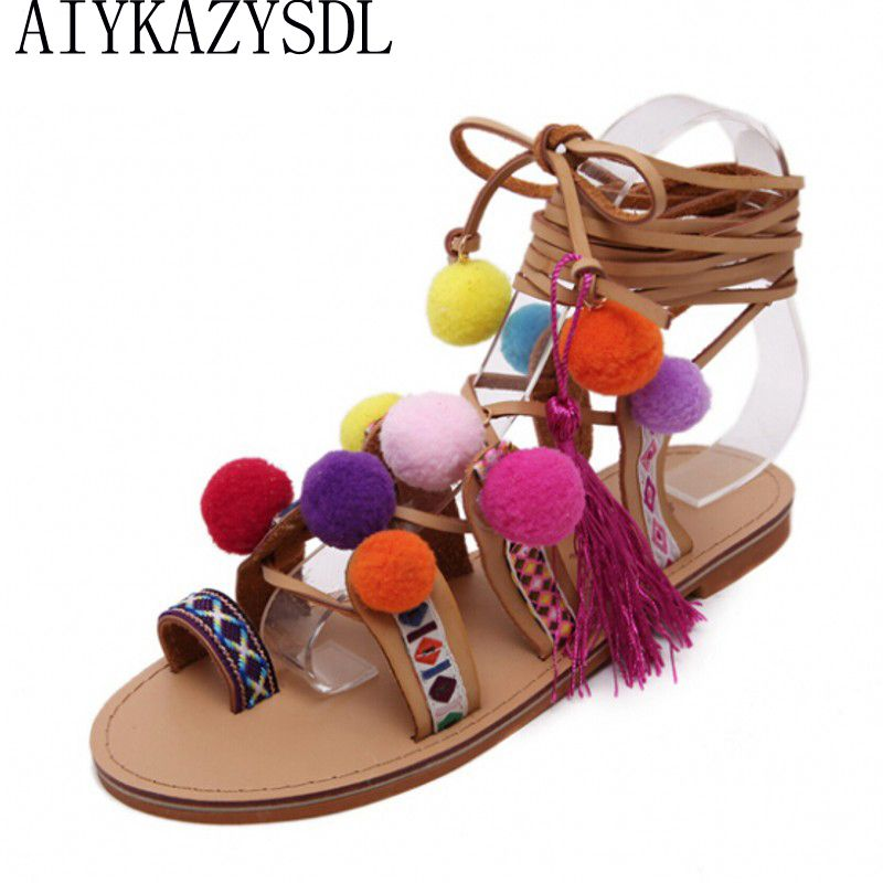 627127e5adf087 AIYKAZYSDL Ethnic Bohemia Summer Woman Pompon Sandals Gladiator Roman  Strappy Knee High Boots Embroidered Tassel Shoes