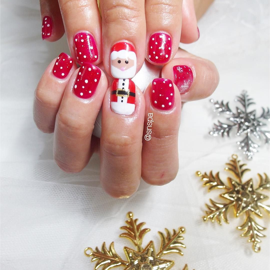 Santa Claus Nail Art: Santa Claus Belt And Face Nails Designs
