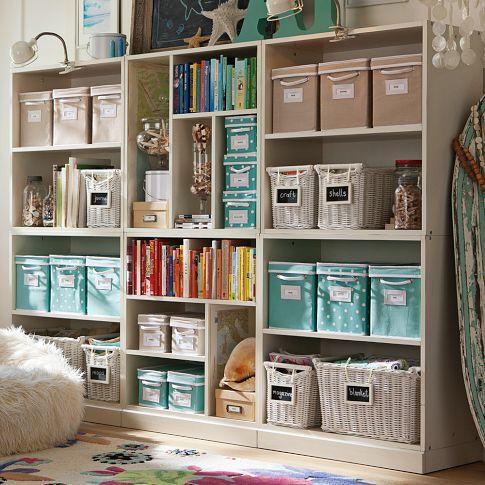 home office shelves ideas. craft room stuido home office storage ideas photo credit pbteen shelves