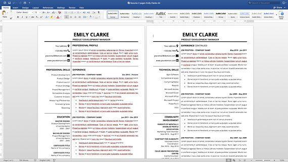 Modern Resume Template, Resume Template Word, Clean Resume Template