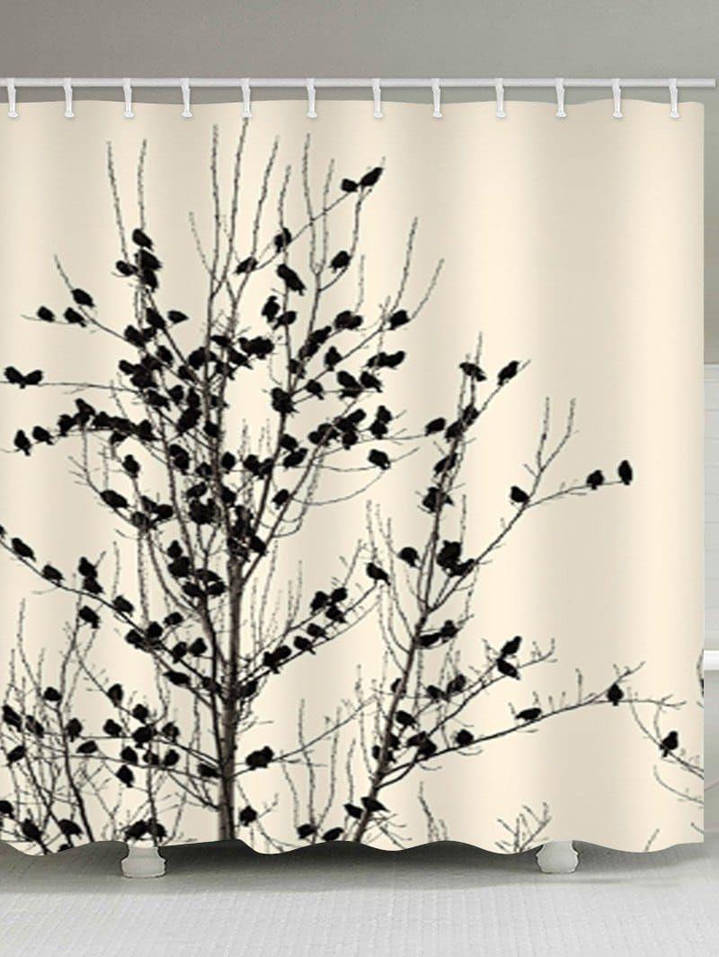 Birds In The Tree Print Waterproof Bathroom Shower Curtain