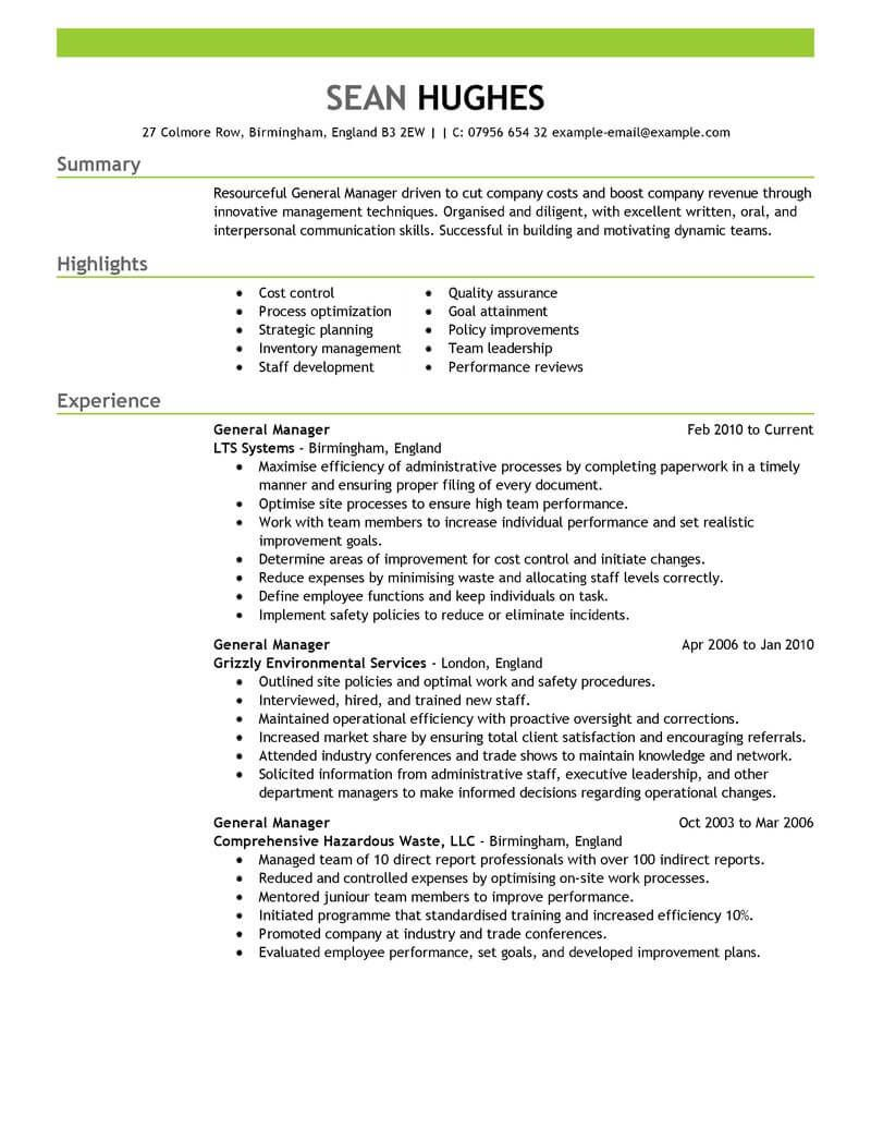 General Manager | Resume examples, Job resume examples ...