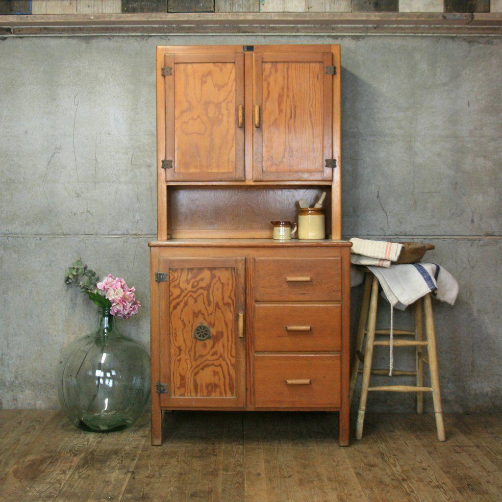 Rustic Pine Kitchen Cabinets: Vintage Rustic Pine Kitchen Larder Cabinet