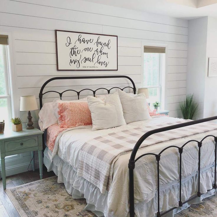 Farmhouse Style Bedroom Wrought Iron Bed Frame Check Blanket Throw Shiplap Walls Wooden Floor In 2020 Remodel Bedroom Farmhouse Bedroom Decor Home Decor Bedroom