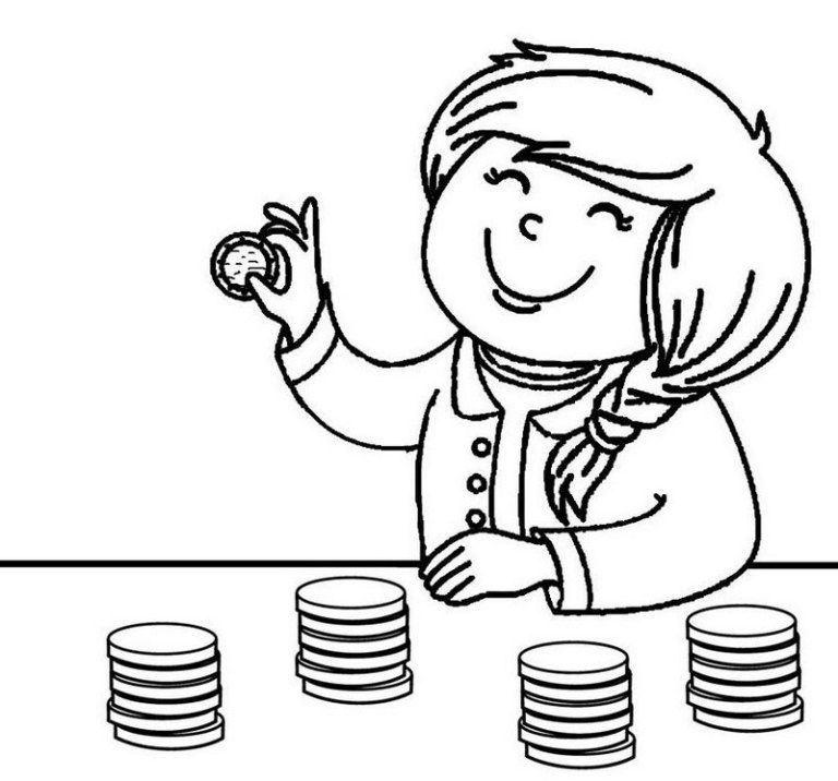 Cute Kid Counting Coin Coloring Pages Coloring Pages For Kids Coloring Pages Heart Coloring Pages