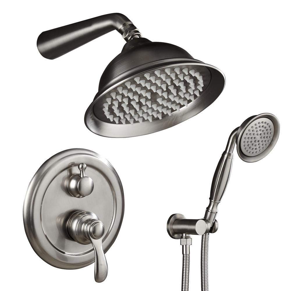 Ello Allo 2 Handle 2 Spray Of Rain Shower Faucet 8 In Round Shower Head With Handheld Kit In Brushed Nickel Valve Included As N L3508 The Home Depot Shower Faucet Sets Shower Heads Shower Faucet