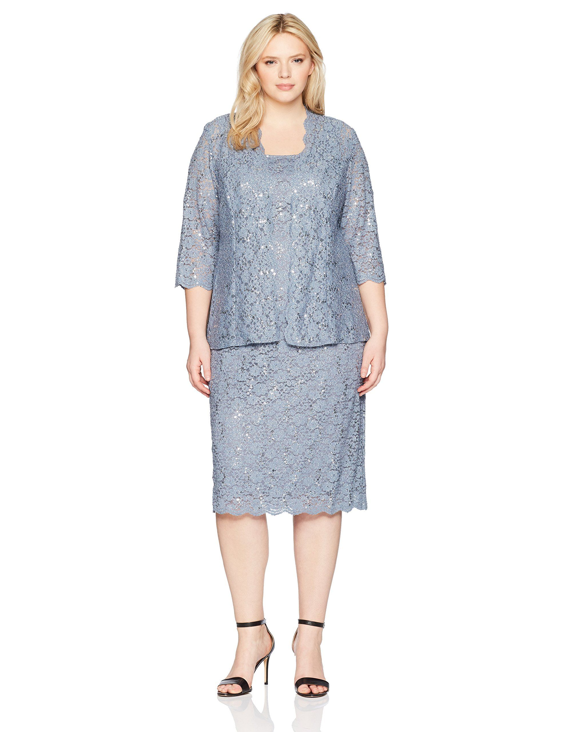 e161590c362 Alex Evenings Womens Plus Size Lace Jacket Dress Steel Blue 14W -- Continue  to the product at the image link-affiliate link.  womensformaldresses