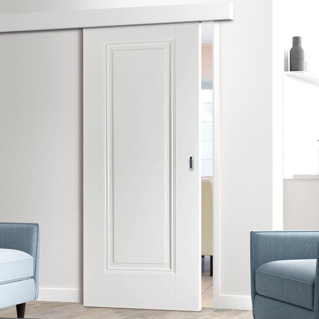 Thruslide Surface Eindhoven 1 Panel White Primed Sliding Door And Track Kit Lifestyle Image Paneldoor Moderndo Sliding Doors White Paneling Panel Doors