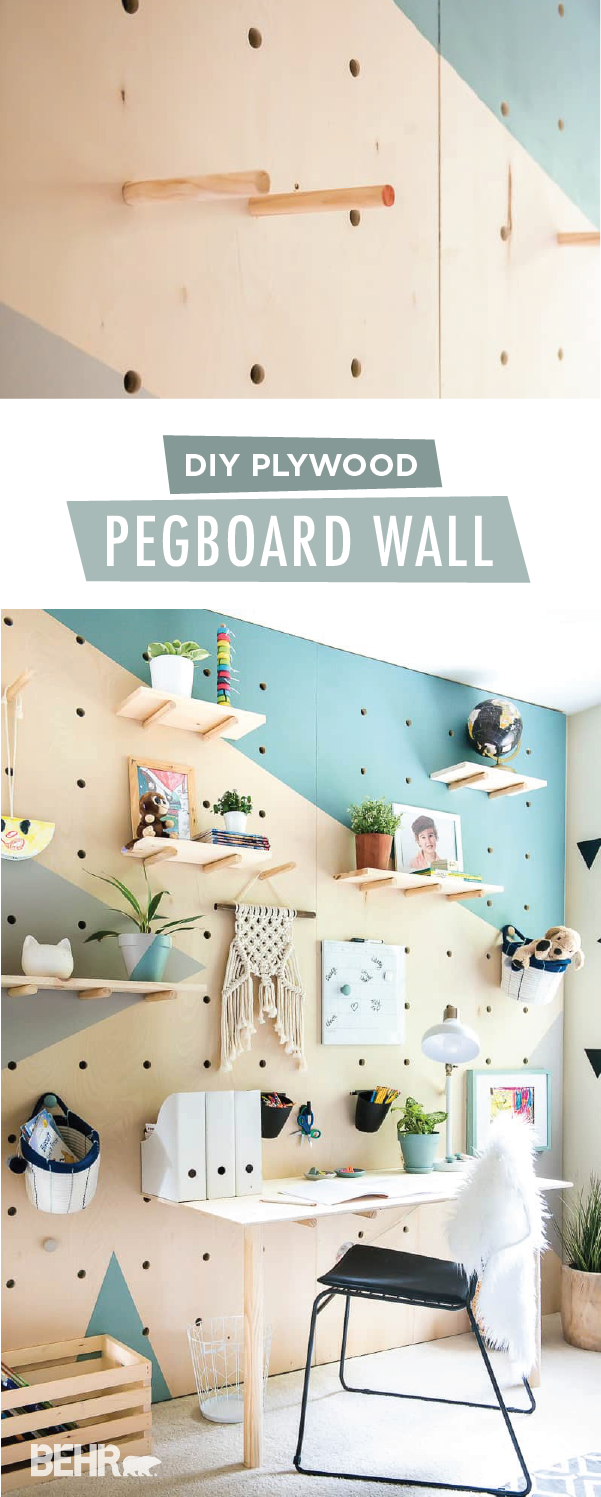 DIY PLYWOOD PEGBOARD WALL. SO COOL AND CHIC! | Geometric wall ...