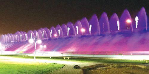 بلدية الزلفي تدشن شلال حديقة الزيتون شبكة سما الزلفي Marina Bay Sands Marina Bay Landmarks