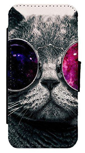 Cool Cat Sunglasses Leather Flip Phone Case Cover For Iphone