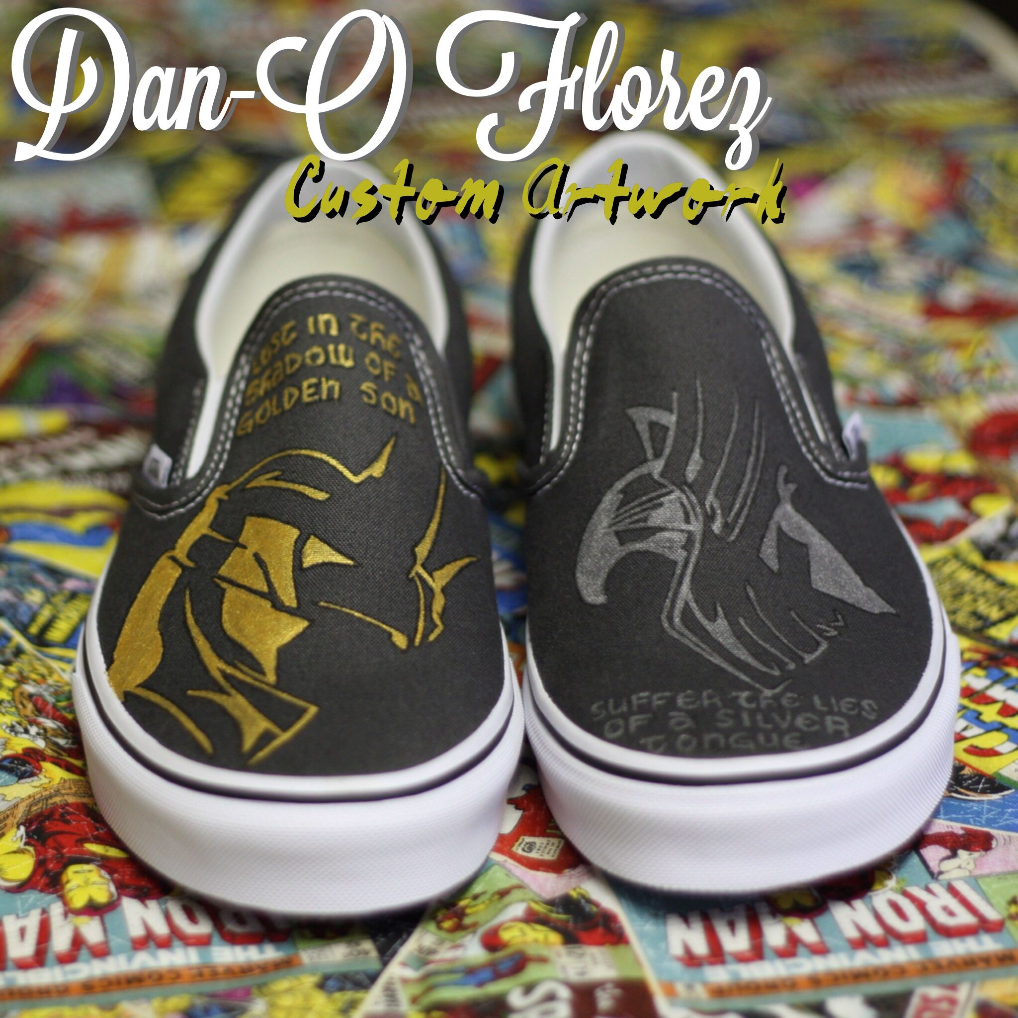 32eaa46e8fd Thor and Loki inspired Artwork VANS slip on SHOES ARE INCLUDED. I have 1  pair of mens size 8 (9.5wm) available to ship right away