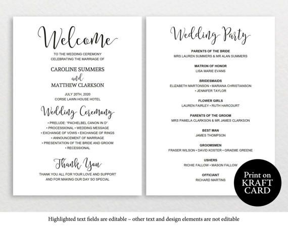 Wedding Program Template Rustic Wedding Program Printable