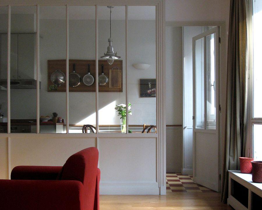 Verriere Bois Sur Mesure Entre Cuisine Et Salon Style Art Deco