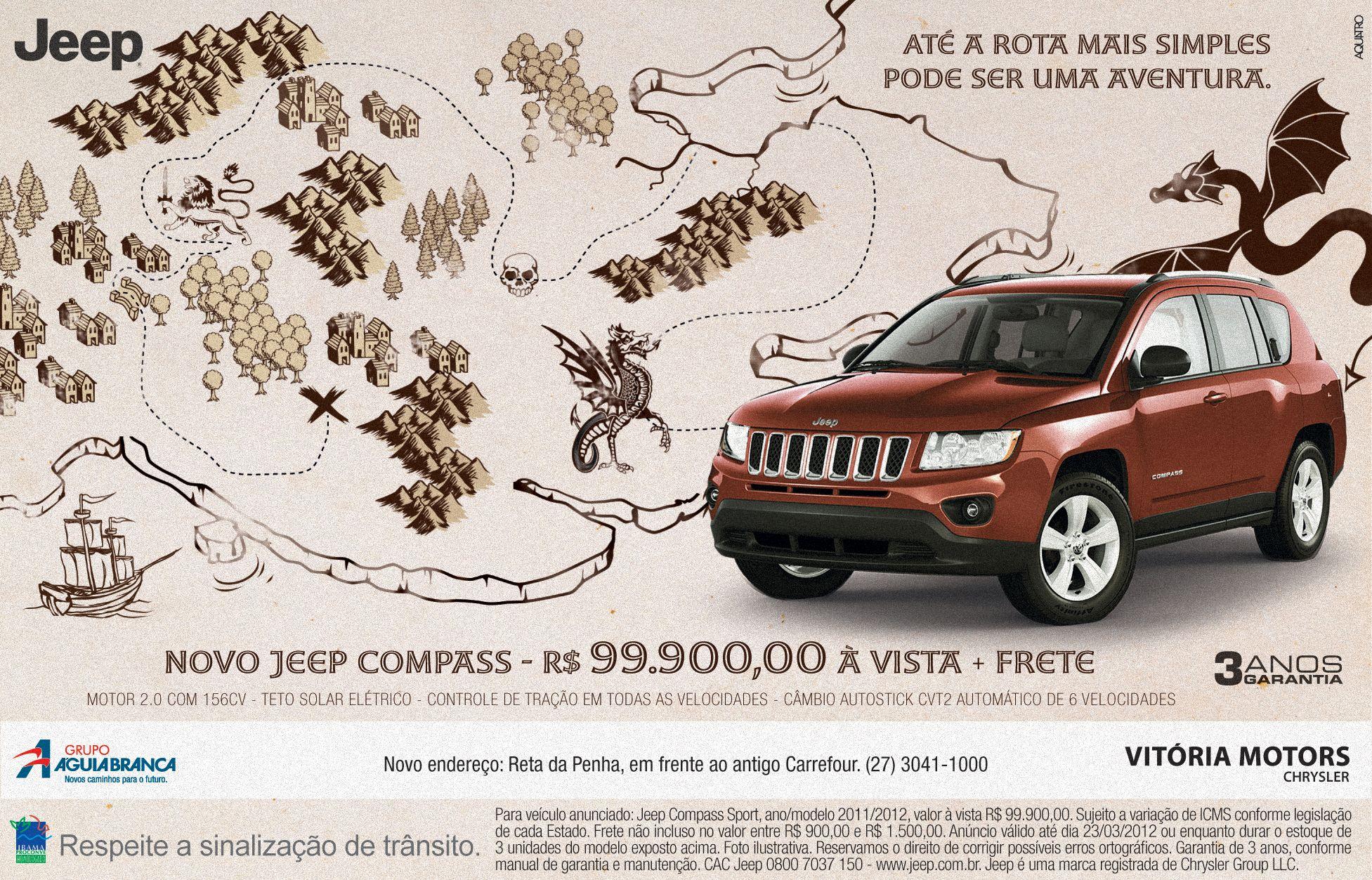 A campanha da Aquatro para o Jeep Compass fortalece a ideia de um carro que possiblita grandes aventuras, sem deixar a desejar na correria do dia a dia. Focada nesse contexto, a ilustração de um mapa de tesouro reforça a ideia do que o carro proporciona, fazendo do Jeep Compass um SUV de destaque no mercado.