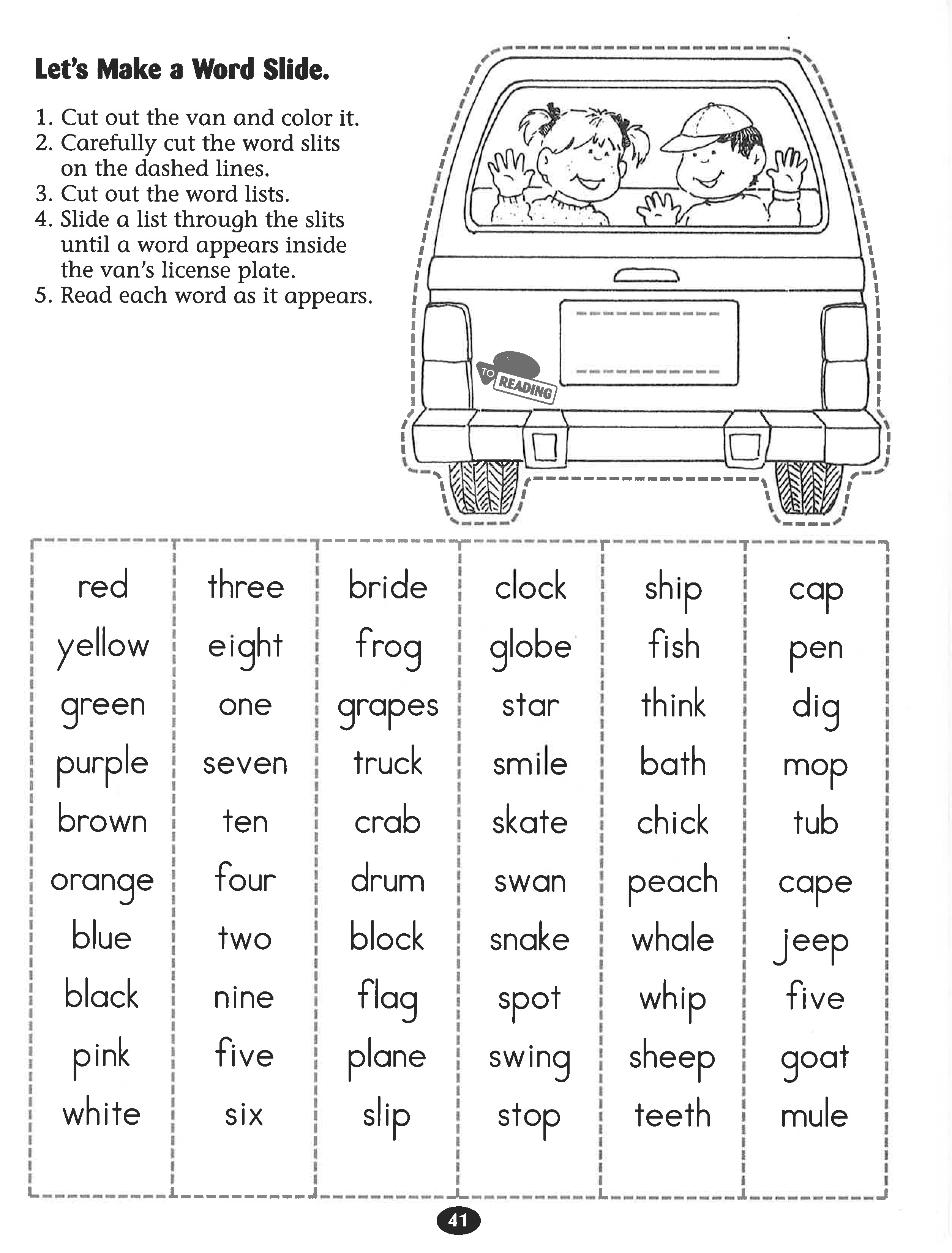 Let S Make A Word Slide Worksheet Reading