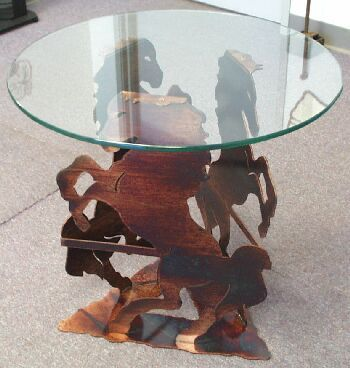 Rearing Horses Glass Cocktail Table Ds412 Horses