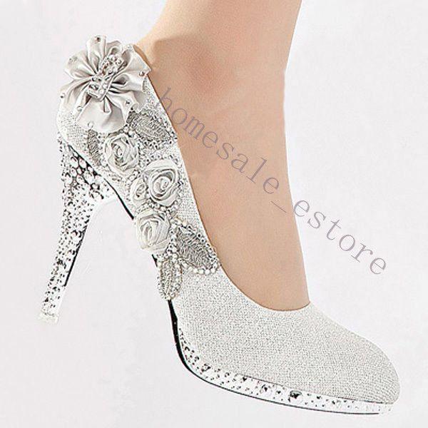 Details Zu Luxus Brautschuhe Hochzeit Strass Schuhe Abends Kristall