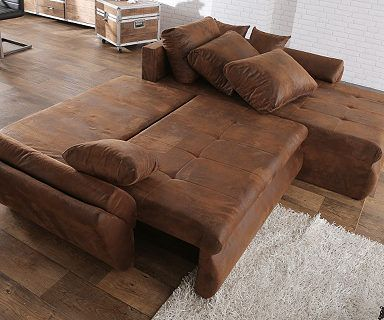 DELIFE Couch Loana Braun 275x185 cm Ecksofa Schlaffunktion OT L R - braun wohnzimmer ideen